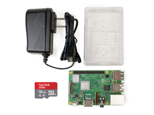 Raspberry Pi 3 B+ Starter Kit - Includes Raspberry Pi 3 B+, Clear Case w/Internal Camera Mount, 5.1v 2.5A MicroUSB PSU, and Official SanDisk 16GB Class 10 MicroSD Card Preloaded w/NOOBS