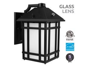 LEONLITE LED Outdoor Wall Lantern with Dusk to Dawn Photocell, 14W (60W Equiv.), Glass Lens, 3000K Warm White
