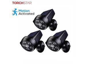 TORCHSTAR 3 Pack LED Solar Motion Sensor Light, Waterproof Outdoor Solar Powered Security Light, 6500K Pure White, Wall Lighting for Porch, Garage, Patio, Garden, Driveway, Black