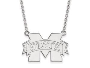 9fe007a4 Sterling Silver LogoArt Mississippi State U Large Enamel Pendant w/Necklace