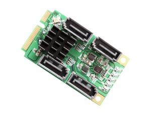 Mini PCI-Express 2.0, 4-Port SATA 6G, non-RAID, Marvel 88SE9215 Chipset, with 4x SATA Cables