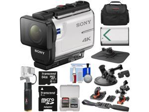 Sony Action Cam FDR-X3000 Wi-Fi GPS 4K HD Video Camera Camcorder with Action Mounts + 64GB Card + Battery + Power Hand Grip + Case + Kit