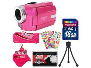 Vivitar DVR-508 HD Digital Video Camera Camcorder (Pink) with 16GB Card + Monster Case & Pouch + Puffy Stickers + Tripod + Kit
