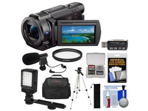Sony Handycam FDR-AX33 Wi-Fi 4K Ultra HD Video Camera Camcorder with LED Video Light + Microphone + Case + Tripod + Kit