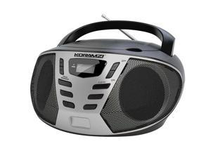 KORAMZI CD55-BKS Portable CD Boombox with AM/FM Radio, Top Loading CD Player, Telescopic Antenna, LCD Display for Indoor & Outdoor, Offices, Home, Restaurants, Picnics, School , Camping