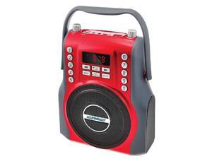 KORAMZI  Karaoke Portable Rechargeable Boombox with Bluetooth, FM Radio, AUX In (Red) KS-200RD