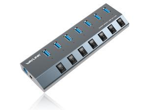 Wavlink 7-Port USB 3.0 Superspeed Hub with 48W Power Adapter, On/Off Switches with BC 1.2 Charging Support for Macbook, iPad, iPhone, Laptops, Tablets, Mobile HDD and more