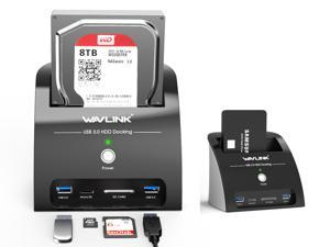 Wavlink USB 3.0 to SATA Hard Drive Docking Station with Card Reader and 2 Port USB 3.0 Hub, External Enclosure, For 2.5/3.5 inch HDD/SSD SATA I/II/III, One Touch Backup/UASP/SD & Micro SD