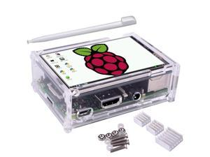 3.5 inch TFT LCD Touch Screen + Protective Case + Heatsink+ Touch Pen Kit For Raspberry Pi 3/2/Model