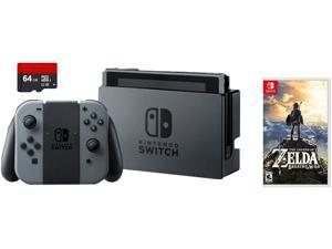 Nintendo Switch 3 items Game Bundle:Nintendo Switch 32GB Console Gray Joy-con, 64GB Micro SD Memory Card and The Legend of Zelda: Breath of the Wild Game Disc