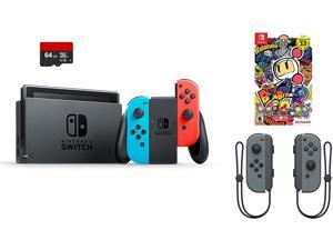 Nintendo Switch Bundle (4 Items): Nintendo Switch 32GB Console Neon Red and Blue Joy-Con, 64GB Micro SD Memory Card, Nintendo Joy-Con (L/R) Wireless Controllers Gray, and Super Bomberman R Game Disc
