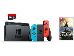 Nintendo Switch Bundle (3 Items): Nintendo Switch 32GB Console Neon Red and Blue Joy-Con, 64GB Micro SD Memory Card, and The Legend of Zelda: Breath of the Wild Game Disc
