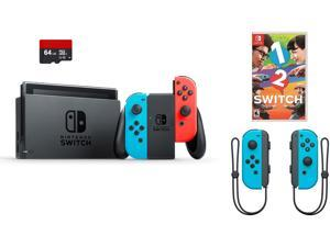 Nintendo Switch 4 items Bundle: Nintendo Switch 32GB Console Neon Red and Blue Joy-con, 64GB Micro SD Memory Card and an Extra Pair of Nintendo Joy-Con (L/R) Wireless Controllers Neon Blue, 1-2-Switch