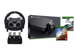 Xbox One X Forza Deluxe Racing Wheel Simulation Bundle: Forza Motorsport 7, Forza Horizon 4, Logitech G920 Racing Wheel (Xbox/PC), Xbox One X 4K HDR 1TB Entertainment Console - Black