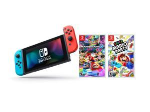 Nintendo Switch Mario Party Bundle: Super Mario Party, Mario Kart 8 Deluxe and Nintendo Switch 32GB Console with Neon Red and Blue Joy-Con