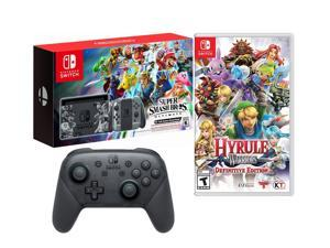 Nintendo Switch Epic Hero Characters Bundle: Super Smash Bros., Hyrule Warriors, Limited Edition Switch SSB 32GB Console with Extra Official Pro Controller