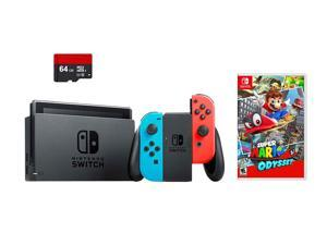 Nintendo Switch 3 items Bundle: Nintendo Switch 32GB Console Neon Red and Blue Joy-con, 64GB Micro SD Memory Card and Super Mario Odyssey Game Disc
