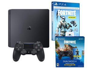 Playstation 4 Battle Royale Fortnite Frostbite and Royale Bomber Skin Bundle: 1500 V-Bucks, Two Dualshock 4 Wireless Controllers, 1TB PlayStation 4 Slim Console, Royale Bomber and Frostbite Skin Set