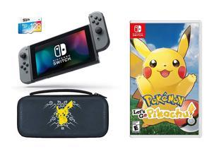 Nintendo Switch Pokemon Let's GO Pikachu Starter Bundle: Let's Go Pikachu, Deluxe Travel Case, 128GB SD Card and Nintendo Switch 32GB Gaming Console with Gray Joy-Con