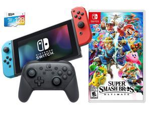 Nintendo Switch Super Smash Bros. Bundle: SSB Ultimate Game, Wireless Pro Controller, Nintendo Switch 32GB Console with Neon Blue and Red Joy-Con, 128GB SD Card