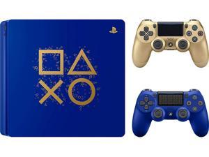 Playstation PS4 Days of Play Limited Edition Gaming Bundle: Days of Play PS4 Slim 1TB Console with Limited Edition Controller DualShock 4 Wireless and Extra Gold Wireless Controller