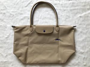 4d3bc4aafea4 Auth Longchamp Le Pliage Club Collection Horse Embroidery Large Tote Beige
