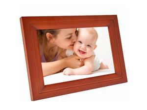 """Real Wood 7"""" Wi-Fi Digital Photo Frame (7-inch LCD HD Touch Display, iPhone & Android App (EZFun2), 4GB Internal Memory (Expandable), Real Wood Frame) Great Gift"""