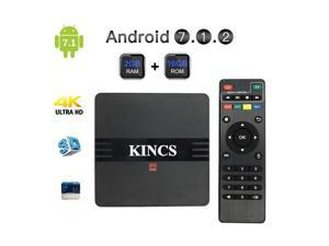KINCS Smart TV Box 4K Ultra HD Android 7.1 Quad Core 2GB Ram+16GB Rom OTT IPTV Internet Network Streaming Media Player