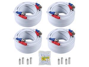 ANNKE 100 Feet (30 meters) 2-In-1 Video/Power Cable with BNC Connectors and RCA Adapters for Video Security Systems (4-Pack, White)