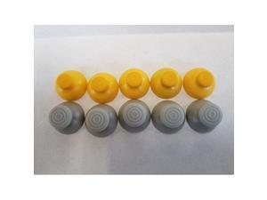 10 Joystick Analog Stick Caps Covers 5 Left Grey And 5 Right Yellow Replacement Parts For Nintendo GameCube Controller