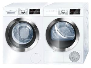 "Bosch Front Load Compact WAT28402UC 24"" Washer with WTG86402UC 24"" Electric Dryer Laundry Pair in White"