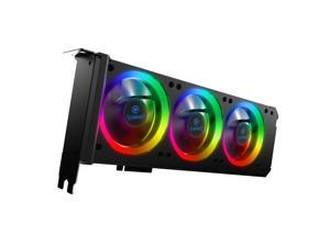 Anidees Graphic Card Cooler 3 x 80mm PWM Fan, Support ASUS Aura SYNC/MSI Mystic Sync/ASROCK Aura RGB/GIGABYTE RGB Fusion (5V 3-Pin Addressable Headers ONLY) PCI Mount Bracket with Remote - AI-GP-CL