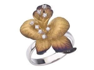 Jinyong Sterling Silver and Cubic Zirconia Flower Ring