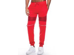 a352e438c2ae True Rock Men s Andre Faux Zippered Textured Panel Joggers-Red-XL