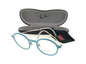 df1e46681ace Ray Ban RX7087-5638 Round Women's Blue Frame Clear Lens Genuine Eyeglasses  NWT