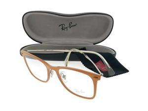 c8daddc4a17 Ray Ban RX7086-5642-49 Tech Unisex Light Brown Frame Clear Lens Eyeglasses  NWT