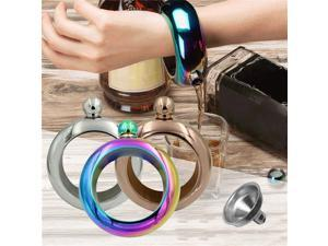 3.5oz Portable Stainless Steel Hip Flask Holder Alcohol Drink Bangle Bracelet US