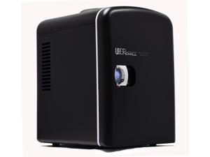 Uber Appliance UB-CH1 Uber Chill Mini Fridge 6-can portable Thermoelectric Cooler and Warmer mini fridge for bedroom, office or dorm (Blackout Matte Black)