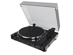 Monoprice Monolith Turntable Black Compatible with Audio-Technica AT100E Cartridge, Premium Construction, Phono Pre Amp