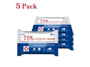 10 Pcs Alcohol Wipe 5 Pack Sanitizing Wipes Disinfection Disposable Wet Wipes, 75% Alcohol for Cleaning Hands, Computer, ...