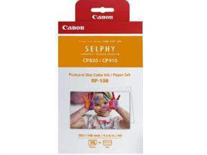 Canon 8568B001 Rp 108 - 1 - Print Ribbon Cassette And Paper Kit - For Selphy Cp1000, Cp910, Cp910 Printing Kit