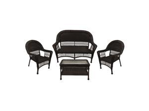 4-Piece Brown Resin Wicker Patio Furniture Set -  2 Chairs, Loveseat & Coffee Table