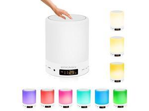 [Smart Touch Sensor] KOCASO [Wireless] LED Stereo Speaker Color Changing, Dimmable, Alarm/Clock, 3 Level Brightness, Hands Free Call/AUX/TF Card- iPhone/Android/Home Table Night Light Lamp Speaker