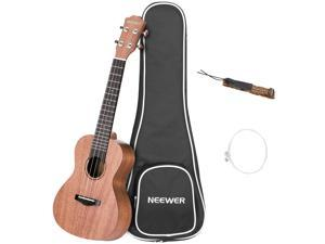Neewer Concert Size 23 inches Mahogany Ukulele with Gig bag, Strap and Carbon Nylon String, 4 Strings White Binding Ukulele with 18 Brass Frets Rosewood Fingerboard and Bridge for Beginners to Solo