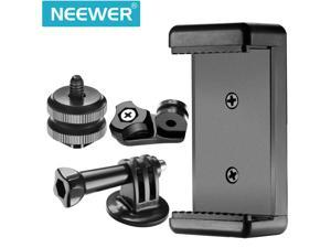 Neewer 3-in-1 Hot Shoe Mount Adapter Kit - includes Hot Shoe Mount, GoPro Adapter and Universal Phone Holder for Attaching Phone or GoPro Hero on DSLR