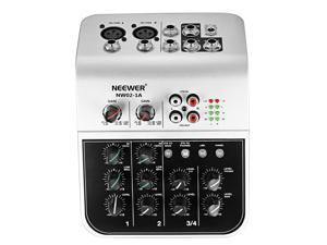 Neewer Mixing Console Compact Audio Sound 2-Channel Mixer for Condenser Microphone, with 48V Phantom Power 2 Band EQ 2-way Stereo Line Input RCA Input/Output 4 Band LED Level Indicator (NW02-1A)