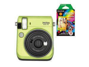 Fujifilm Instax Mini 70 Instant Camera with 10 Rainbow Film Sheets Kiwi Green
