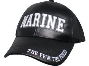 US Honor Marine Text The Few The Proud Leather Mens Cap ... 58b43d047609