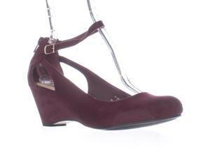 958aad68fc AR35 Miley Ankle-Strap Wedge Pumps, Wine, 9 US