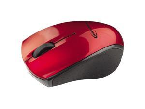 Innovera 62204 Mini Wireless Optical Mouse, Three Buttons, Red-Black